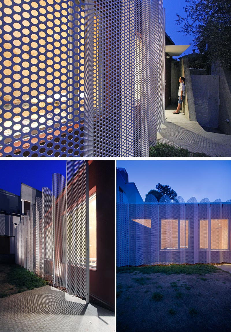 Architect and designer Francesca Perani has created a micro-apartment in Bergamo, Italy, that features a perforated metal screened facade. #MetalScreen #PrivacyScreen #Architecture #BuildingDesign