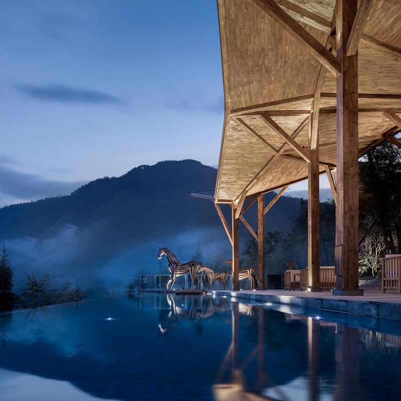 The Bo Du Resort features a pool that looks out to the mountains. #Resort #Travel #SwimmingPool