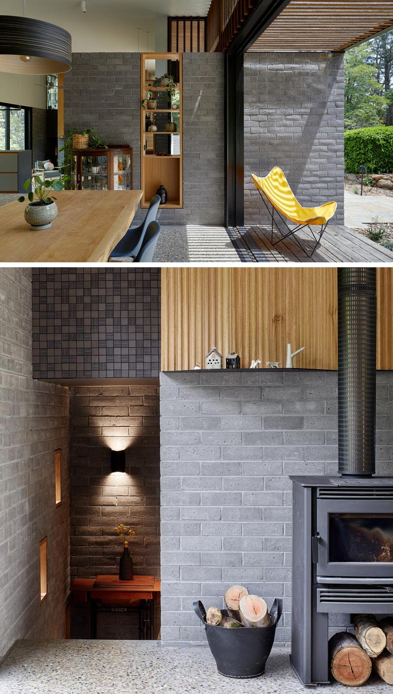 Timbercrete blockwork travels through to the interior of this modern house, and complements a palette of polished aggregate concrete floors and local hardwood to create a warm yet robust interior. #Timbercrete #InteriorDesign #ModernHouse #ModernArchitecture