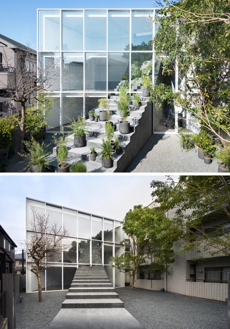 Architecture firm Nendo has designed a minimalist house in a quiet residential area of Tokyo, that has stairs traveling from the exterior to the interior. #Stairs #ModernArchitecture #JapaneseArchitecture #StairDesign