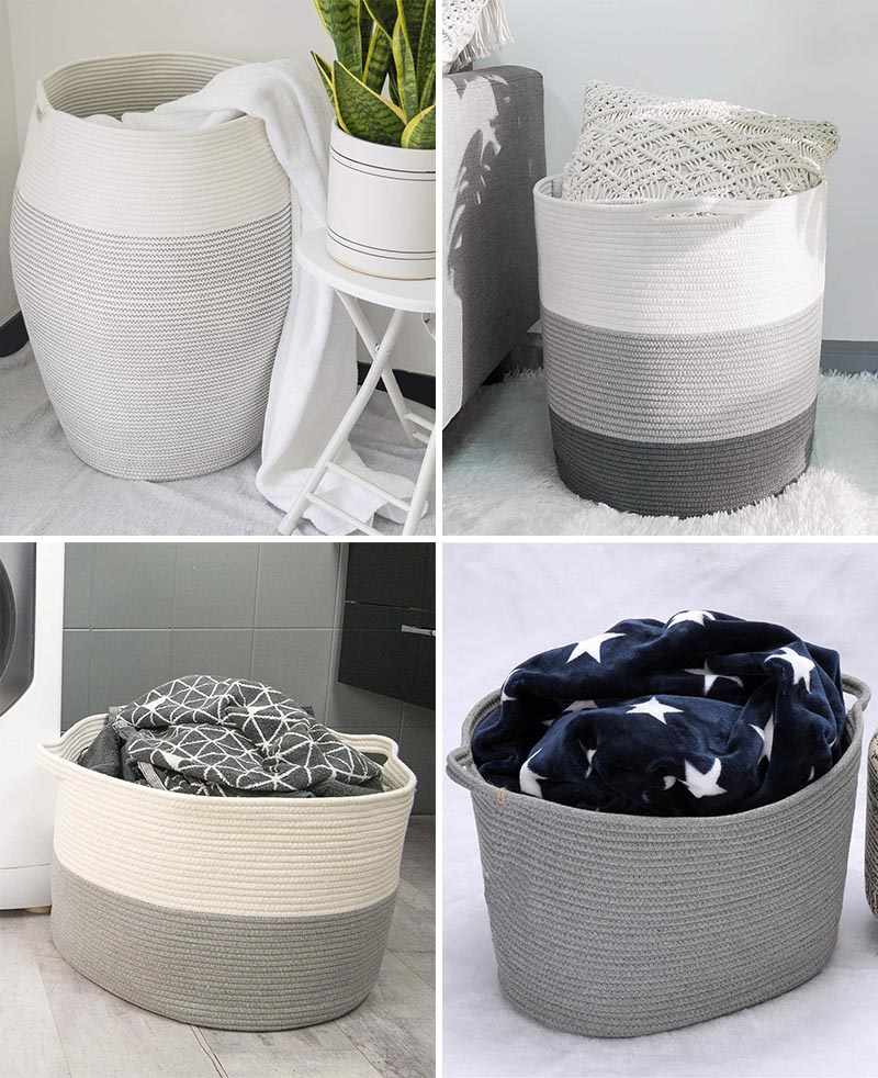 For a casual storage idea, a simple but effective solution is a basket. You can keep it in the corner of the room, and when needed, a blanket can be thrown into it, without the need of keeping it folded. #StorageBasket #HomeDecor #BlanketStorage