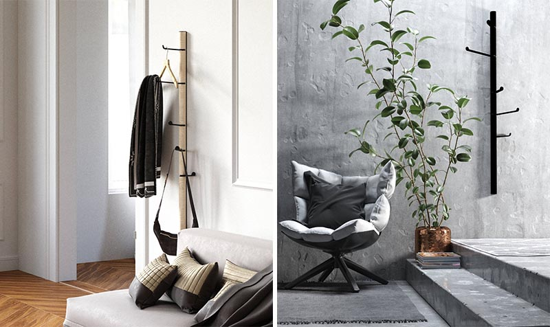 A coat rack is an unconventional way to store your blanket, however if you can find one that has long arms, you can then fold the blanket and drape it over one of the arms, or loop it through a coat hanger, which can then be hung on the rack. #CoatRack #BlanketStorage #ModernDecor
