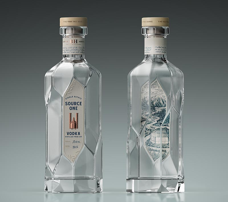 Inspired by the stunning and intricate greenhouse architectural elements, this modern vodka bottle consists of offset panels that create an endless spiraling illusion when turned. #Packaging #BottleDesign #Design