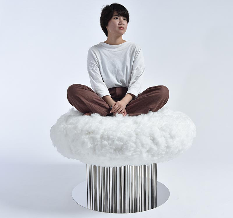 This is a cloud-like chair gives the seated person a sense of floating, while the mirror-like stainless steel legs and pedestal express rain. #ChairDesign #SculpturalChair #FurnitureDesign #Seating