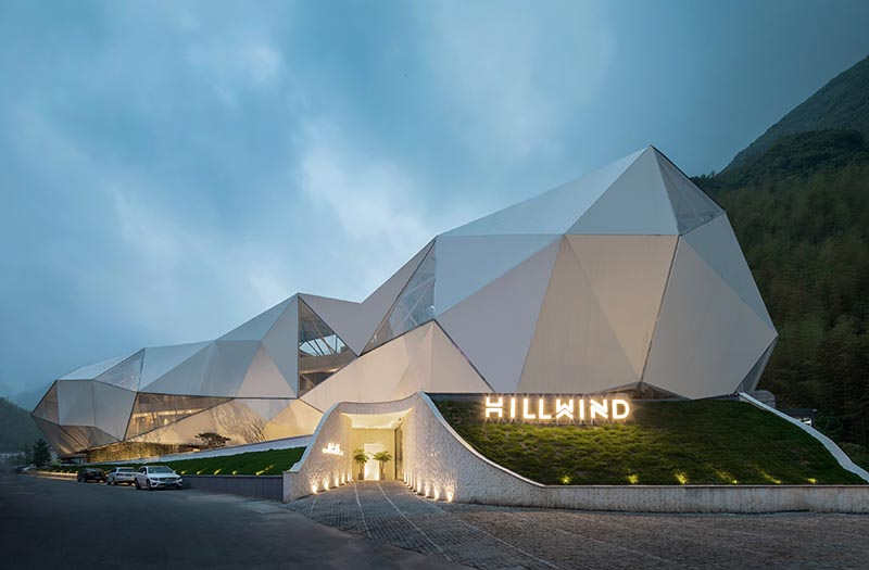 The designer of this hotel and resort extracted the image of geometric clouds from an origami concept and extended the irregular shapes to create the shape of the building.  #HotelDesign #ModernHotel #Architecture