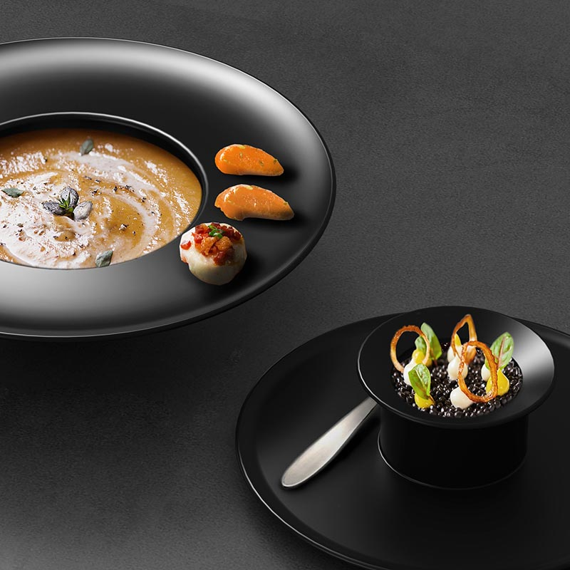 This tableware collection is made of porcelain, and was created with a variety of different production technologies, like isostatic press and high pressure injection. #Tableware #Design