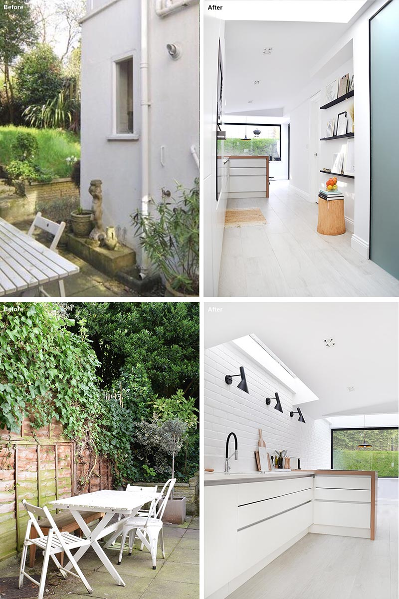 Before & After - House Extension - The patio and garden were quite long and its shape inspired the designers for the layout of the kitchen and dining area. #HouseExtension #KitchenDesign