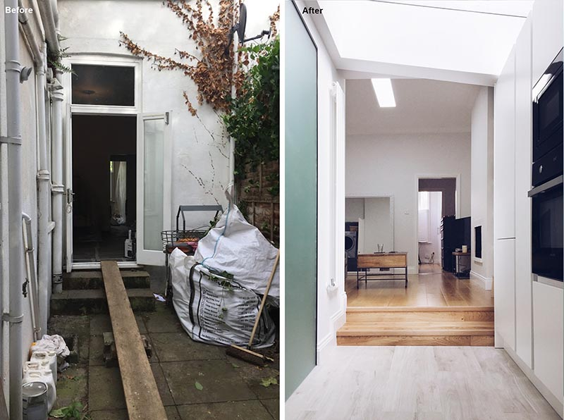 Before & After - House Extension - Here you can see the original door from the living room that opened to the side patio. The new view shows the stair connection, and the start of the kitchen cabinets. #HouseRenovation #HouseExtension