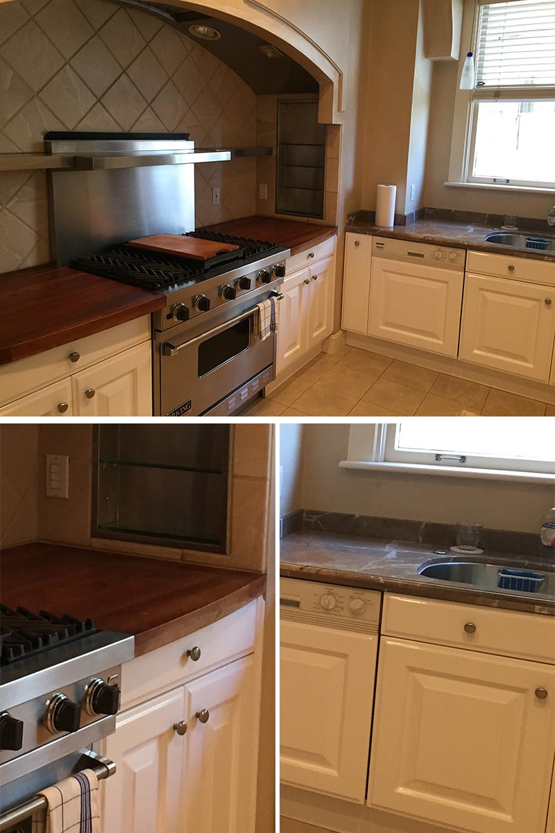BEFORE > The kitchen before the renovation was a mix of dated materials, with multiple countertop materials, an arch above the stove, and built-in glass shelves. #KitchenRemodel #KitchenDesgin
