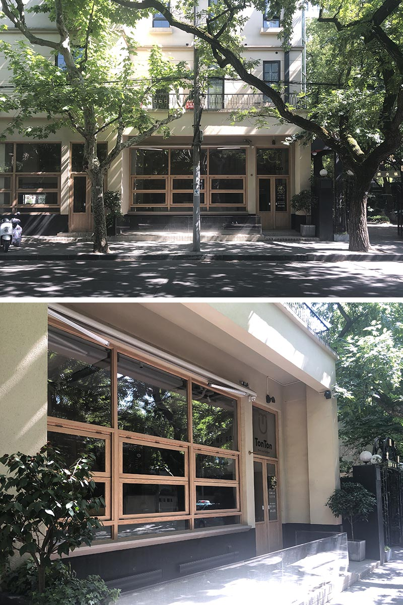 BEFORE PHOTO - B.L.U.E. Architecture Studio has recently transformed a small 538 square foot (50 sqm) retail space into a modern and bright coffee shop in Shanghai, that features a curved glass facade. #ModernCoffeeShop #ModernCafe #CoffeeShop #Architecture #CafeDesign #CurvedGlass