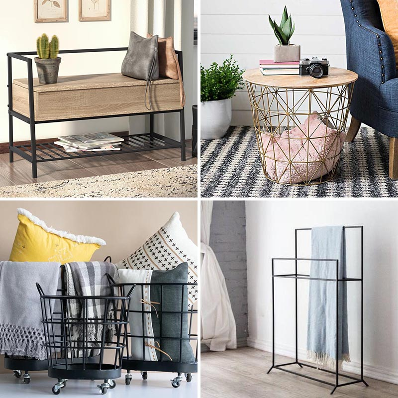 There are a variety of ways to store blankets when you're not using them, from hidden within cabinets and displayed on a ladder, to thrown in a basket or rolled up on a shelf. #BlanketStorage #StorageIdeas #HomeDecor #DecorIdeas