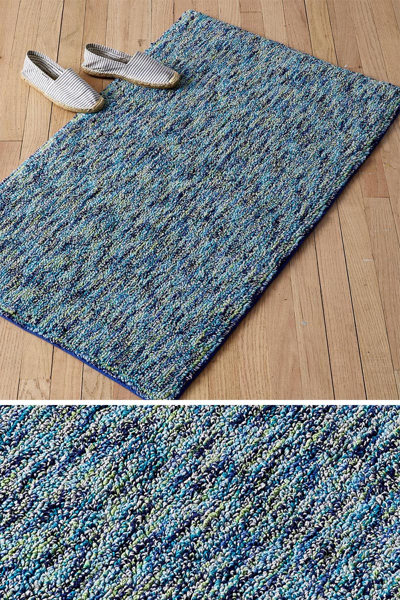 The bathroom is an often overlooked area that can benefit from a having a small rug as part of its decor. Usually made from a material that dries well, it allows a soft surface for someone to stand on instead of the bare floor, when getting out of the bathtub or shower. #BathroomRug #ModernBathroomRug #BlueRug