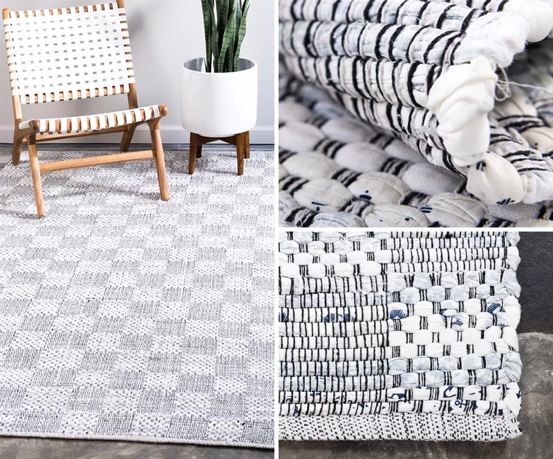 A handwoven rug combines materials in a traditional craftsman format that showcases the art of weaving. #ModernFarmhouse #ModernRugs #HandwovenRugs #HomeDecor