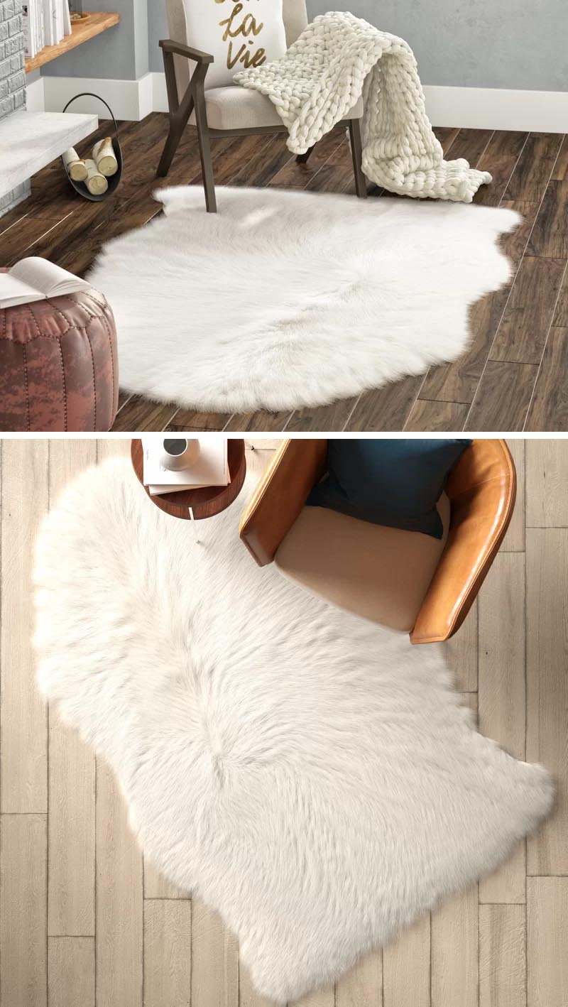 Soft luxurious sheepskin rugs, whether made from wool or synthetic fibers can be used as a floor covering in a modern farmhouse, but can also be draped over a chair for added comfort. #ModernFarmhouse #SheepskinRugs #HomeDecor