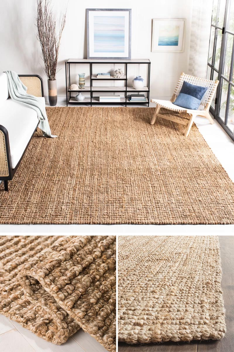 Rugs made from fibers like sisal and jute are one way to add a natural touch to a modern farmhouse interior, and are ideal for a high traffic area. #ModernFarmhouse #NaturalFiberRug #SisalRug #JuteRug #HomeDecor