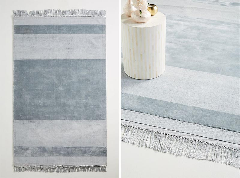 Striped rugs are an alternative for patterned rugs, however they can draw attention and help either elongate a room, or make it feel wider, depending on the orientation of the stripes. #ModernFarmhouse #ModernRug #StripedRug #HomeDecor #ModernFarmhouseRug