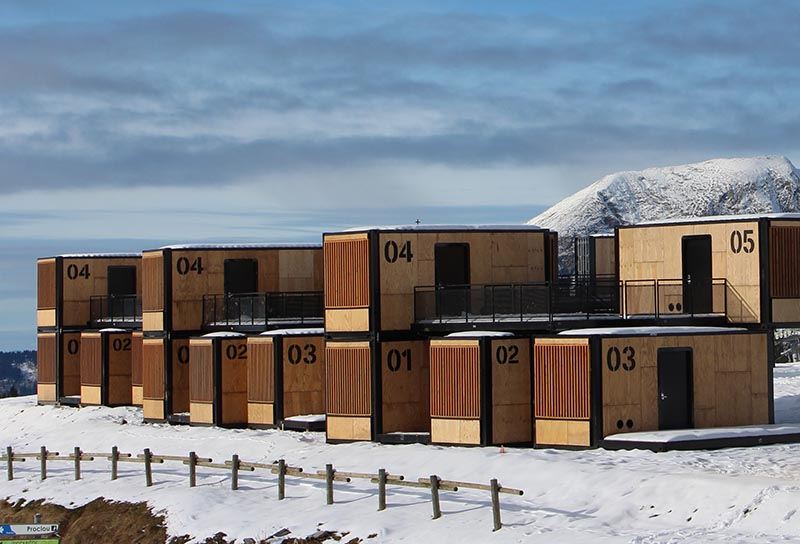 The Flying Nest, a nomadic concept hotel designed by Ora ïto for Accor, uses shipping containers to easily create hotel rooms. #ShippingContainer #ShippingContainerHotel #Travel #Architecture