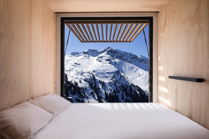 The Flying Nest, a nomadic concept hotel designed by Ora ïto for Accor, uses shipping containers to easily create hotel rooms. #ShippingContainer #ShippingContainerHotel #Travel #Architecture #Window