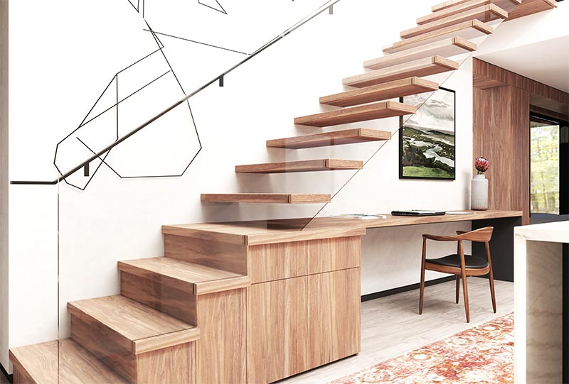 Instead of having an empty unused space under these modern stairs, the designers combined the stairs, desk, and storage all together, creating a cohesive and useful space. #StairDesign #HomeOffice #BuiltInDesk #ModernStairs