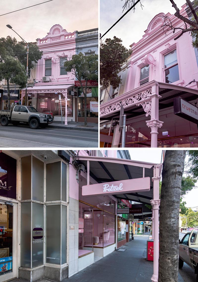 The pink facade of this retail store helps to create a unique identity for the shop, and complements the pink monochromatic interior design too. #RetailFacade #PinkFacade #Architecture #RetailDesign
