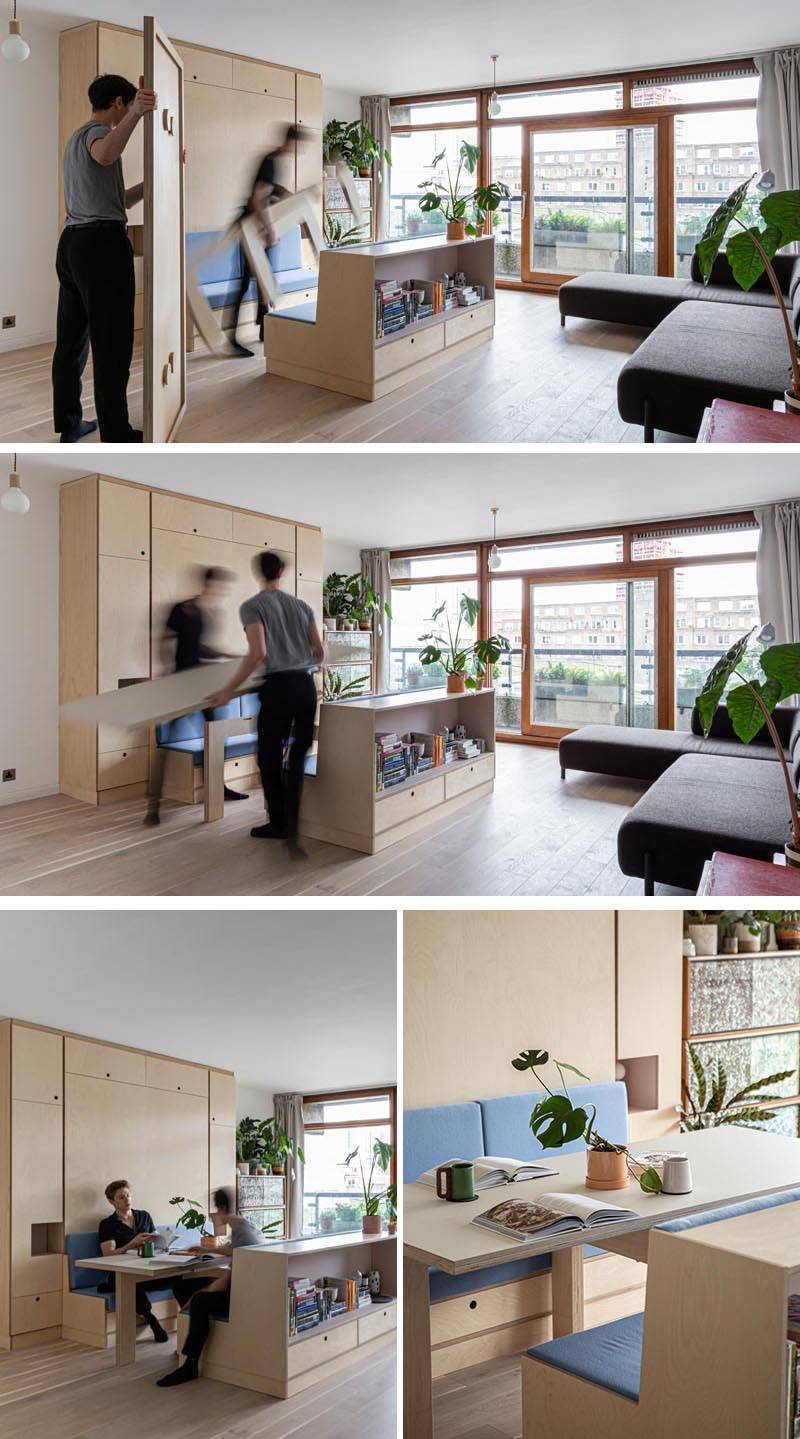 Intervention Architecture have renovated a small apartment in London, that includes a piece of multi-functional furniture that turns into a seating area, a dining area, and a bed. #MultiFunctionalFurniture #FoldDownBed #MurphyBed #SmallApartment #StudioApartment #InteriorDesign