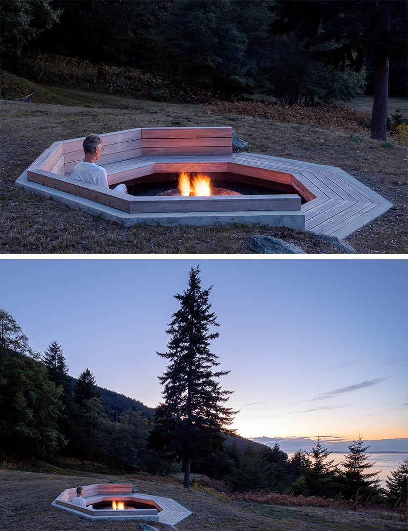 An octagonal outdoor fire pit with built-in seating.