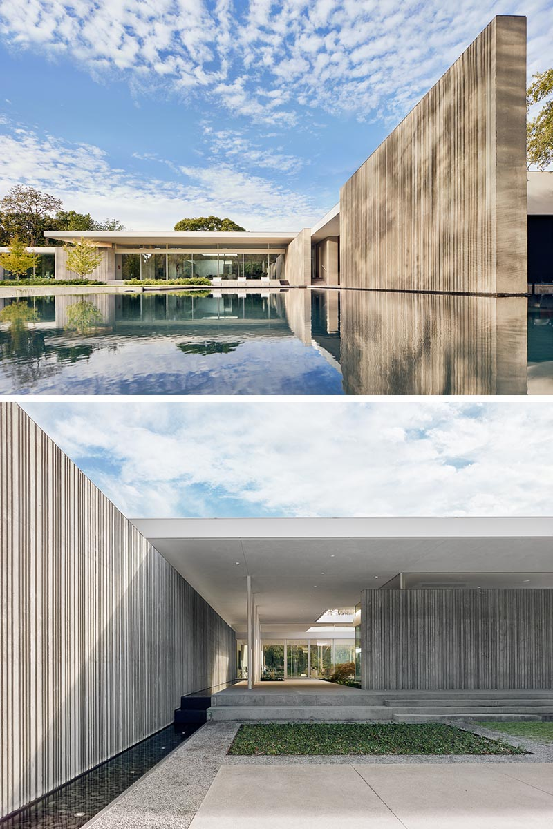 This modern house has concrete walls that were cast using custom-fabricated formwork that created a corrugated appearance.  #ConcreteWalls #ModernArchitecture #CorrugatedConcrete #HouseDesign #ModernHouse