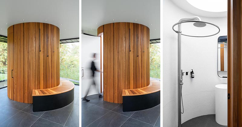 This modern pool house by Maurice Martel architecte, has been designed for year-round use, and has a red cedar clad circular bathroom. #CircularBathroom #RoundBathroom #PoolHouse