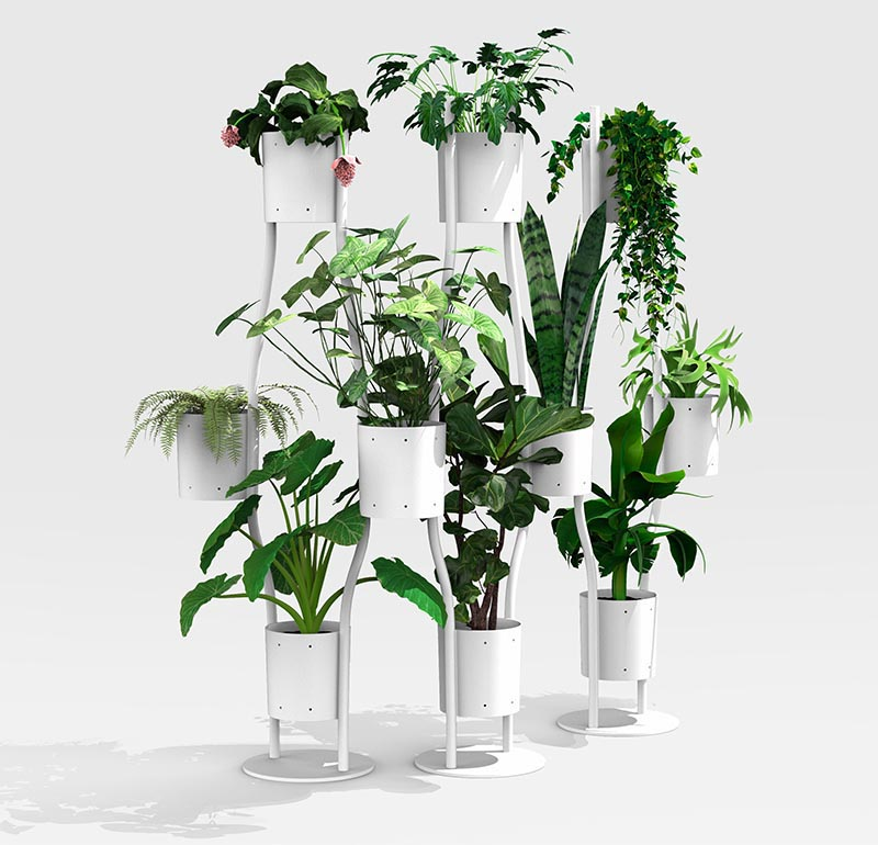 Ippolito Fleitz Group has designed a modern room divider that incorporates plant holders, creating an easy way of adding plants to a room without taking up additional space. #RoomDivider #RoomPartition #Plants #InteriorDesign #WorkplaceDesign