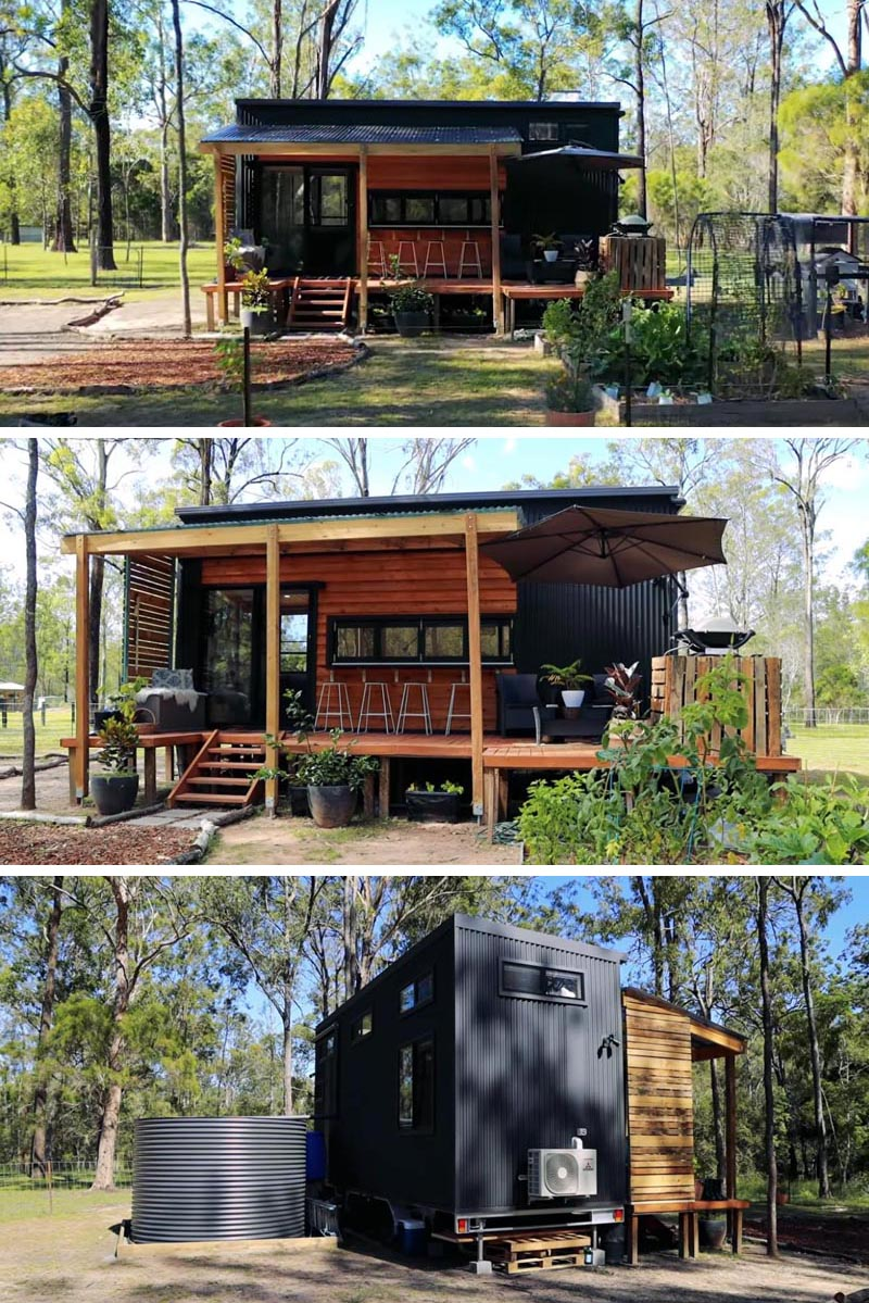 This modern tiny house black corrugated metal siding, wood accents, and two loft bedrooms. #TinyHouse #2BedroomTinyHouse #ModernTinyHouse #Architecture