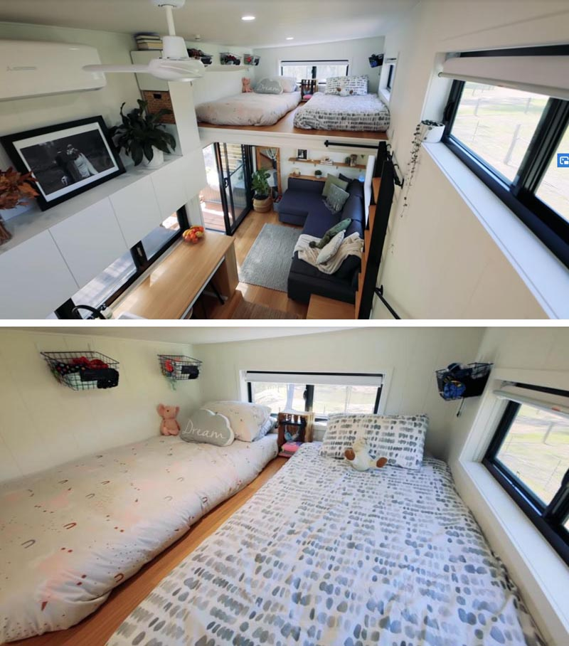 This modern tiny house, has a lofted bedroom for kids, which is furnished with two mattresses, and is accessed via ladder. #TinyHouseBedroom #LoftedBedroom #TInyHouseDesign #TinyHouse
