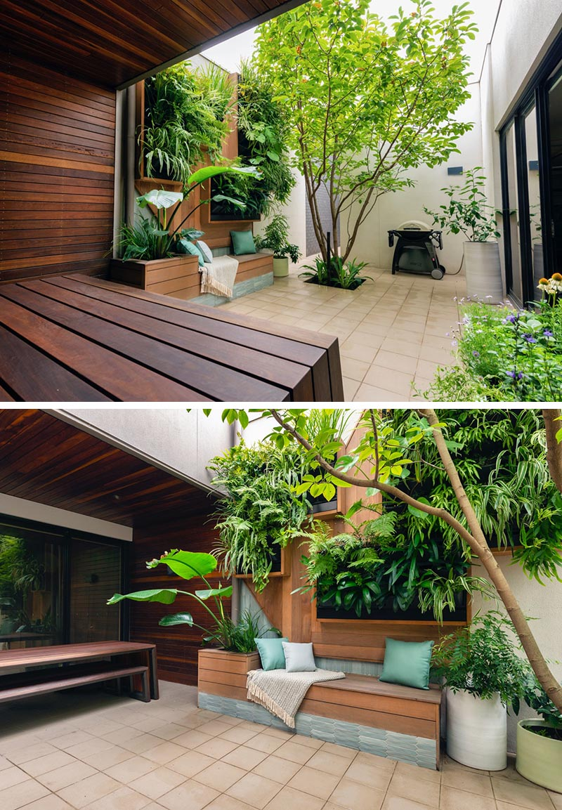 The main feature of the small courtyard is a custom-designed plant wall with a built-in bench. The vertical plant wall has framed greenery, while beside the bench is a planter that also acts as a small backrest when paired with cushions. #SmallCourtyard #SmallOutdoorSpace #PlantWall #VerticaPlantWall #GreenWall #BuiltInBench #Landscaping #LandscapeDesign