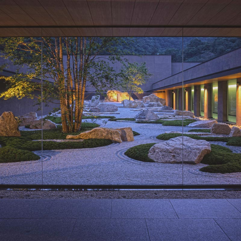 A landscaped garden with wandering paths.