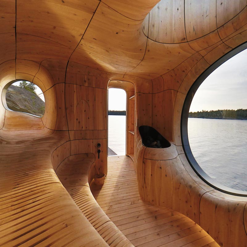Curved wood sauna