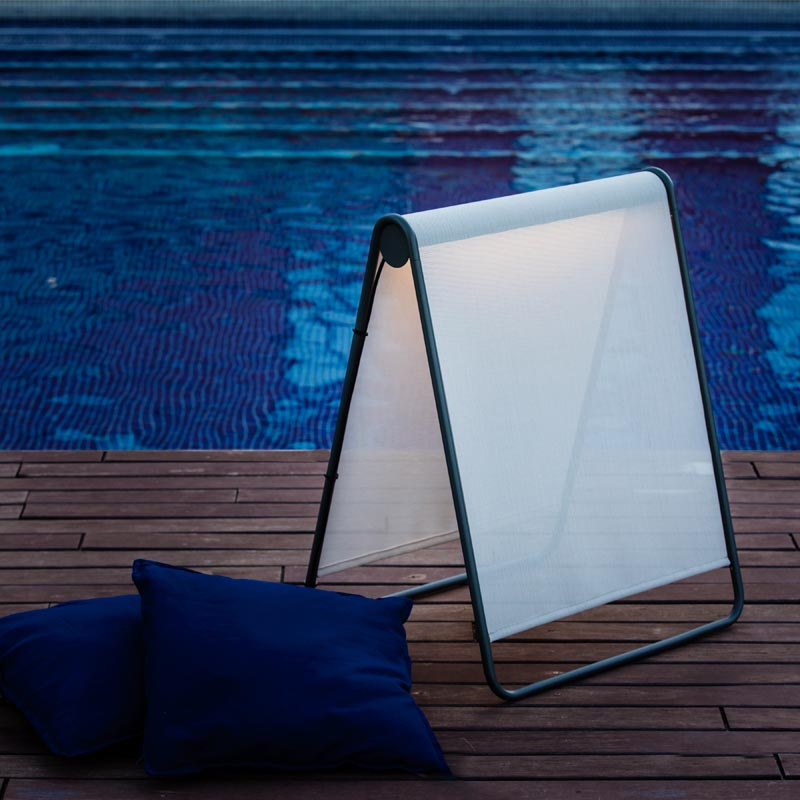 A freestanding outdoor lamp.