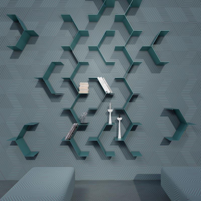 Modern artistic wall shelves.