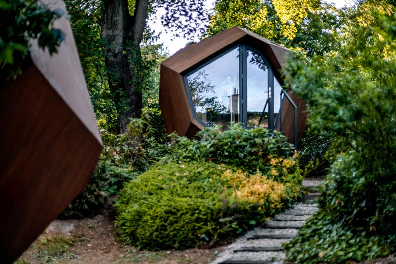 A Small Geometric Wood Cabin Was Designed As A Backyard Home Office