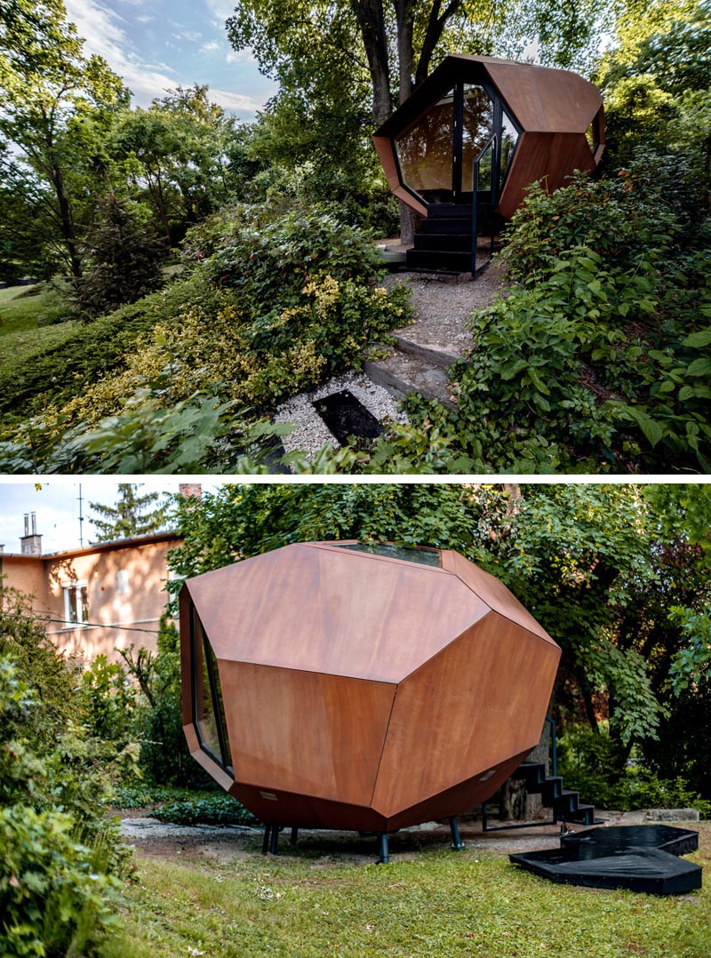 Hello Wood has designed and built a geometric wood cabin that makes it easy to have a backyard home office. #BackyardHomeOffice #HomeOfficeIdeas #BackyardOffice #Architecture