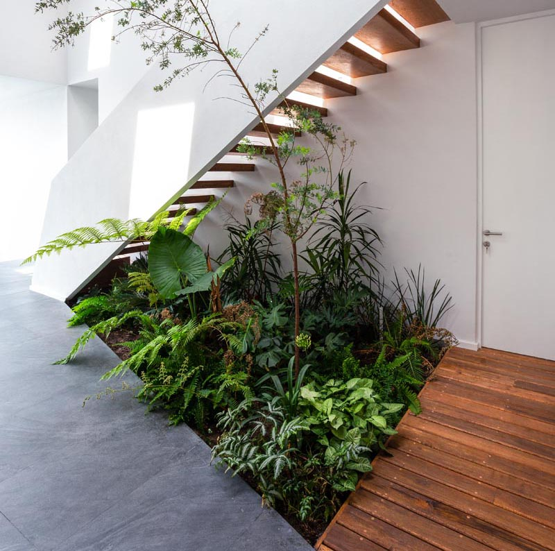 Jaime Juarez Arquitecto has designed a house in Morelia city, Mexico, that features a small indoor garden underneath the stairs. #IndoorGarden #StairDesign #Plants #InteriorDesign