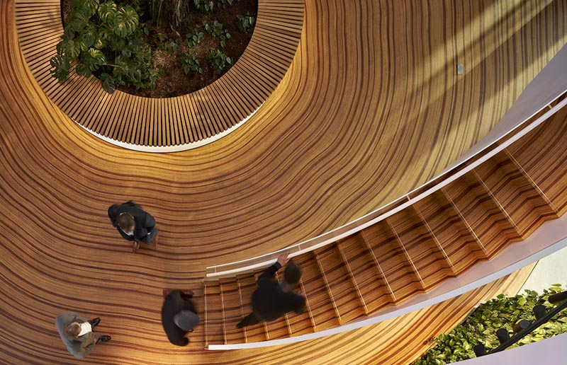 The wood floor of this office atrium has been designed to represent the growth-rings of a tree. #WoodFloor #FlooringIdeas #ArtisticFlooring #SculpturalFlooring