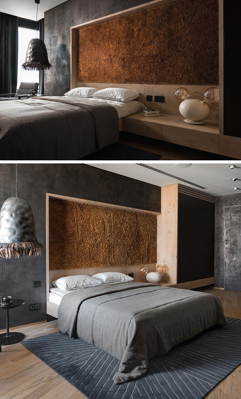 This modern bedroom accent wall adds a textural element and is made from hundreds of bulrush reed stems that were collected and assembled by hand. #AccentPanel #AccentWall #BulrushStems #TexturedPanel #InteriorDesign #BedroomDesign #ModernBedroom #GreyBedroom