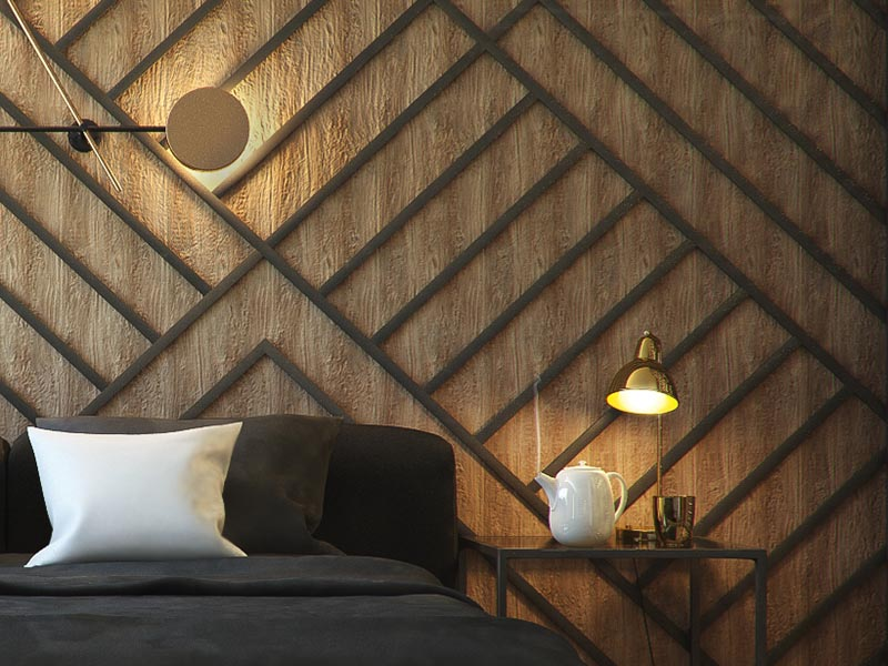 The warm wood accent wall in this modern has been adorned with black stripes, arranged to create a geometric pattern, and complement the square bedside tables and the furnishing choices. #BedroomAccentWall #AccentWall #FeatureWall #BedroomDesign #BlackDecor