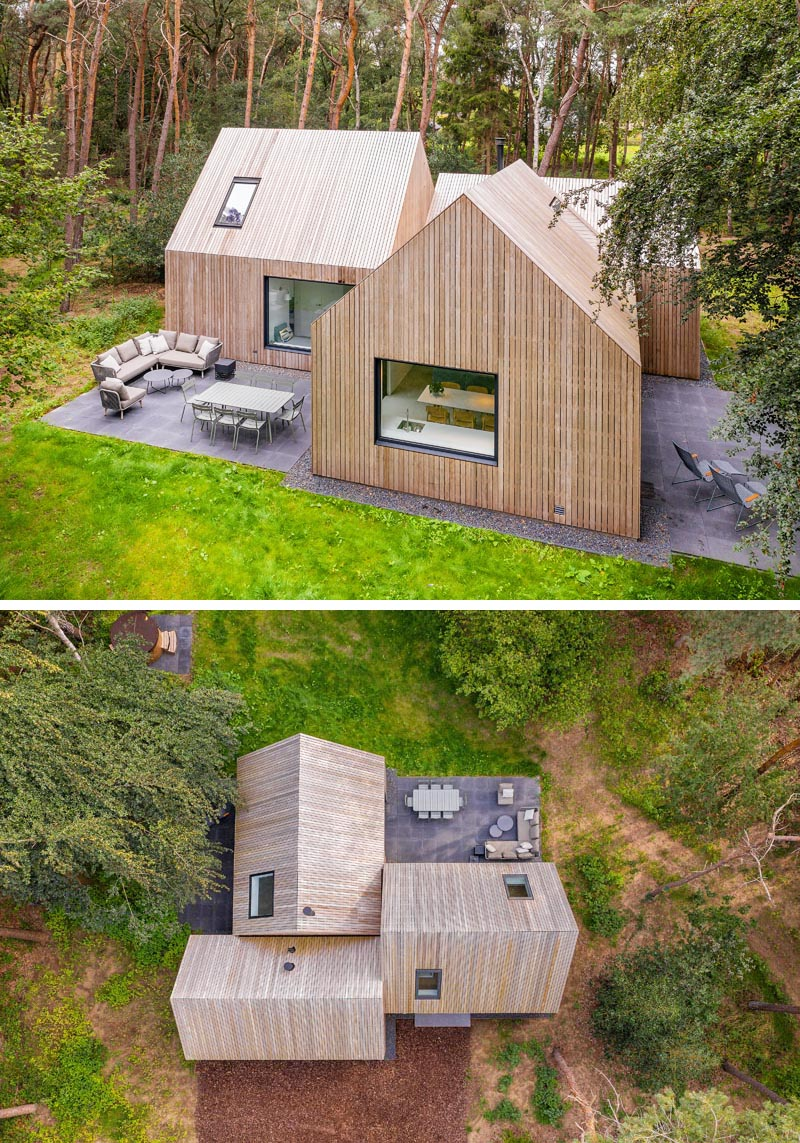 Surrounded by pine trees, the wood clad house named 'Villa Tonden', is composed of three archetypical house shaped volumes. #ModernArchitecture #HouseDesign #VillaDesign #WoodSiding