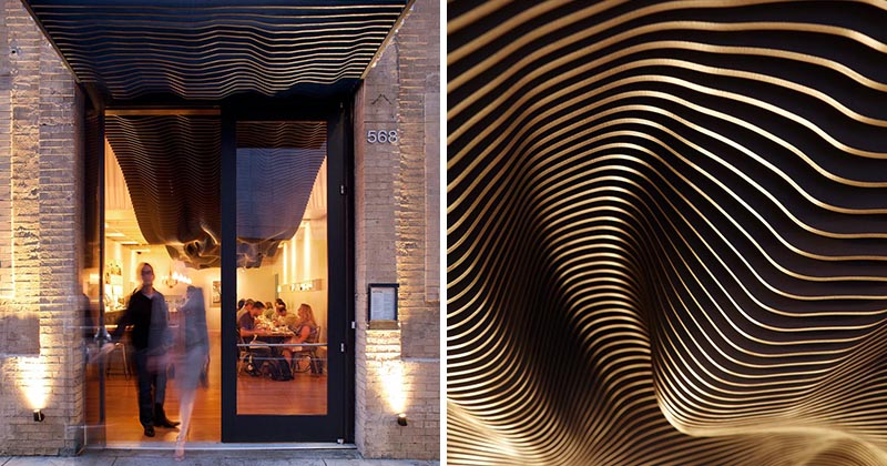 A Dramatic Sculptural Art Installation Travels From Inside To Outside At This Restaurant