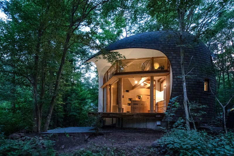 Tono Mirai Architects has designed a small house in the forest of Nagano Prefecture in Japan, that has a shell-like appearance. #SmallHouse #ModernArchitecture #HouseDesign