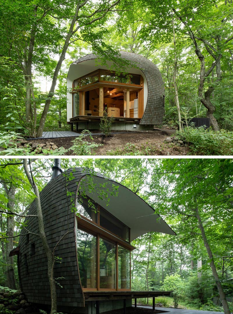 Tono Mirai Architects has designed a small house in the forest of Nagano Prefecture in Japan, that has a shell-like appearance. #SmallHouse #ModernArchitecture #HouseDesign #Shingles