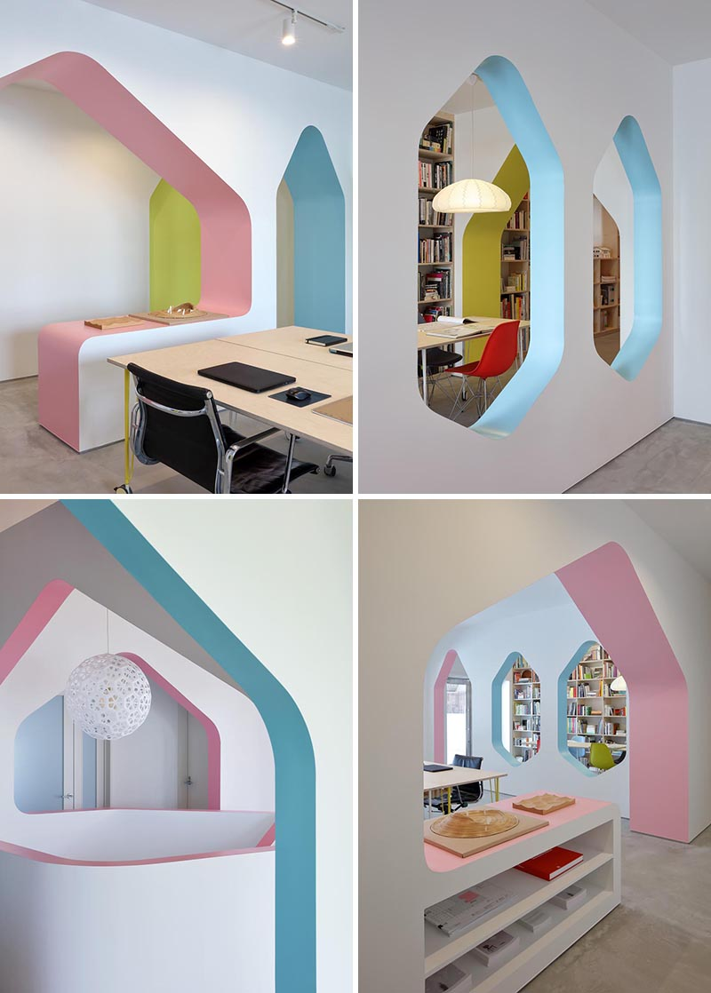 This modern home / design studio features bright white walls with arches that have accentuated with soft blues, yellows, and pinks. #InteriorDesign #Arches #InteriorArches #WhiteWalls