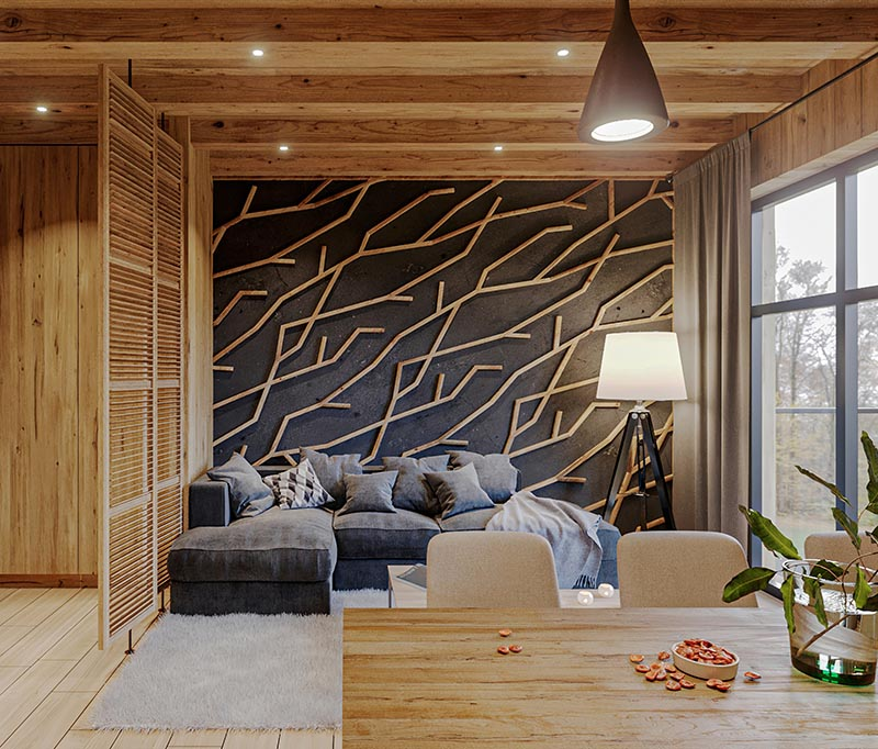 Made from individual pieces of wood, this modern branch-like wood accent wall creates a focal point in the room and complements the other wood details. #WoodAccentWall #BlackWall #BranchArt #AccentWallIdeas