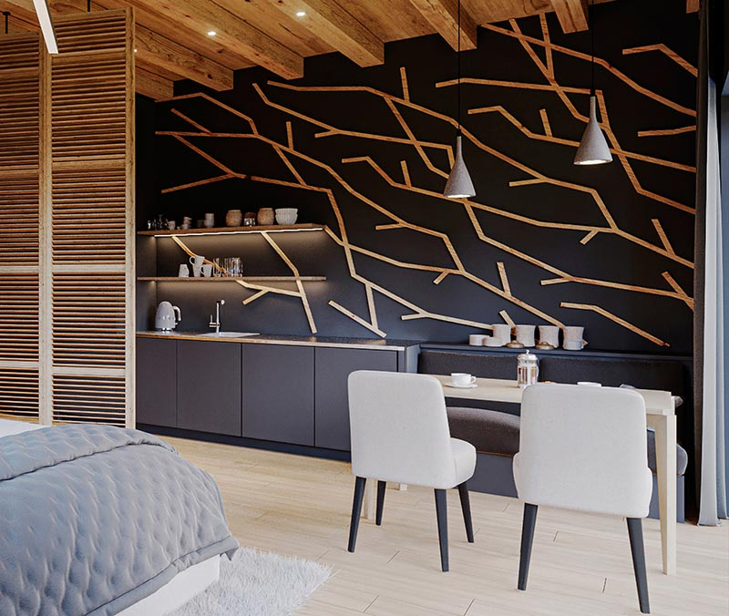 Made from individual pieces of wood, this modern branch-like wood accent wall creates a focal point in the room and complements the other wood details. #WoodAccentWall #BlackWall #BranchArt #AccentWallIdeas #HotelDesign