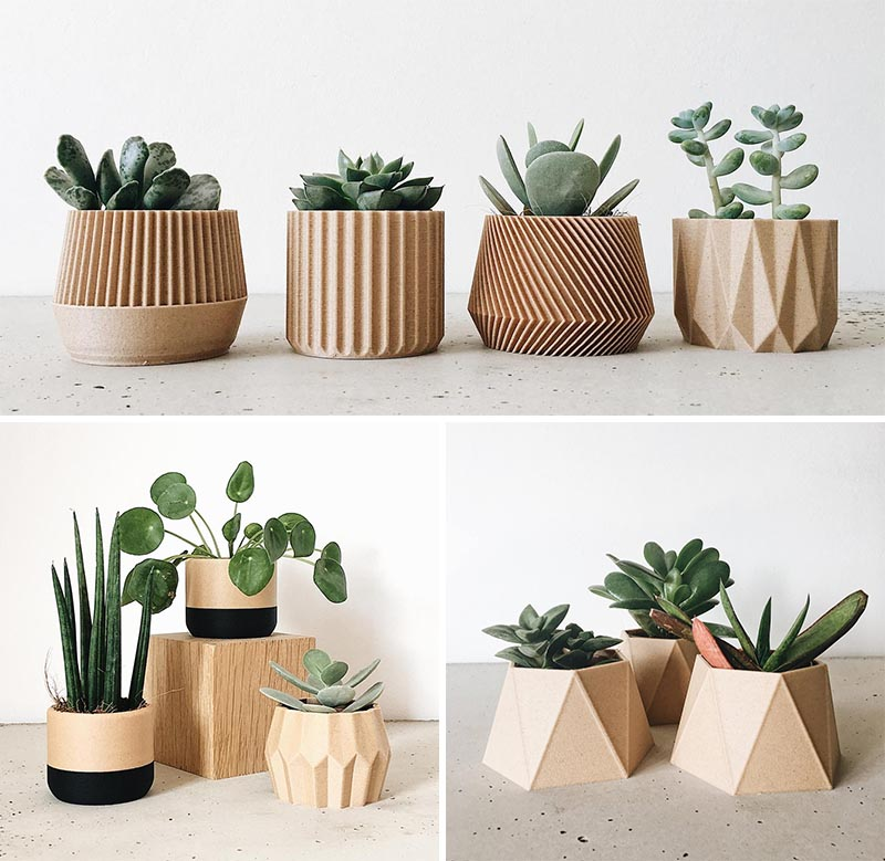 Modern succulent pots created using 3d printed recycled wood and bioplastic made from corn.
